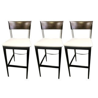 Contemporary Roche Bobois Neutral Leather Bar Stools – Set of 3 For Sale