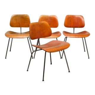 Rare Red Aniline Eames Herman Miller Dcm Chairs, Possibly Evans - Set of 4 For Sale