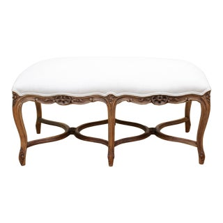 Mid 20th Century Antique French Louis XV Style Bench Upholstered in Irish Linen For Sale