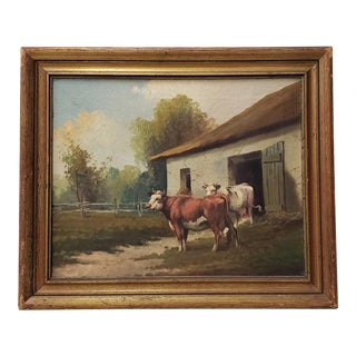 """19th Century Oil Painting """"Country Barn With Cattle"""" by Vitallo For Sale"""