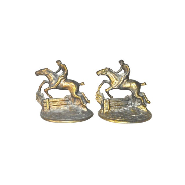 Hubley Horse and Rider Bookends - a Pair For Sale