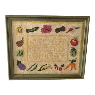 Vintage Mid Century Colorful Needlepoint For Sale
