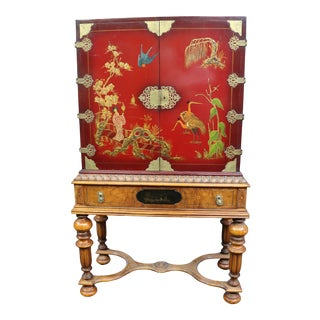 Jacobean Walnut Red Chinoiserie Decorated Bar Cabinet For Sale