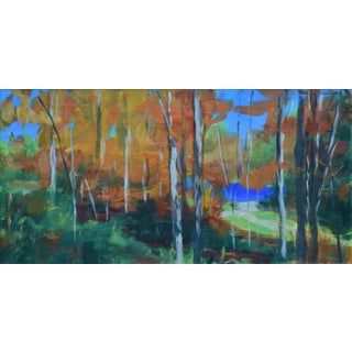 "Contemporary 8"" X 16"" Painting, ""Autumn by the River"" by Stephen Remick For Sale"