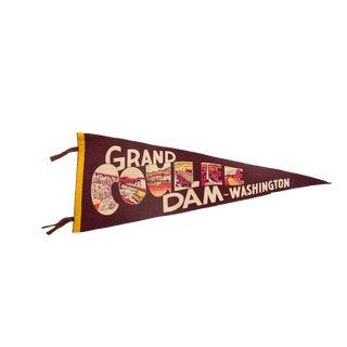 Vintage Grand Coulee Dam Washington Felt Flag Pennant For Sale