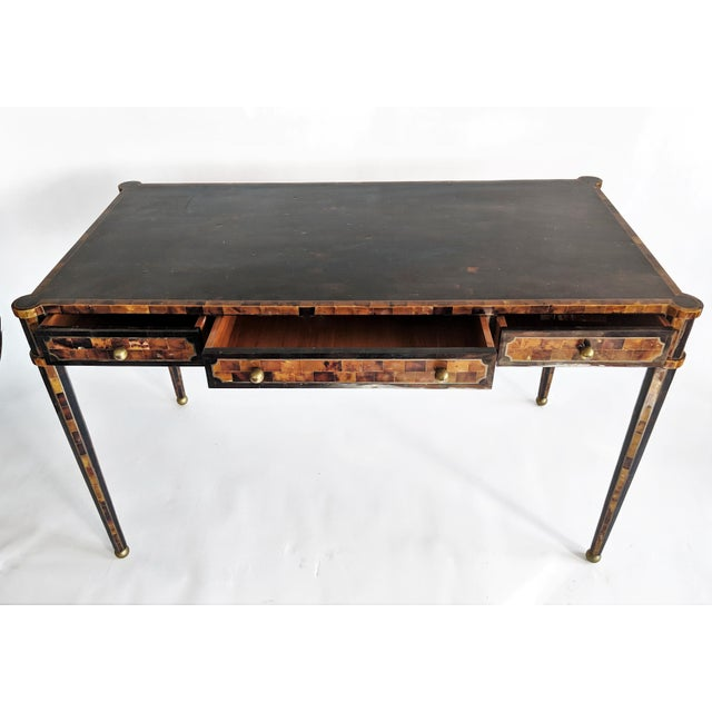 Maitland Smith Tesselated Horn and Brass Writing Partner Desk - Image 6 of 11