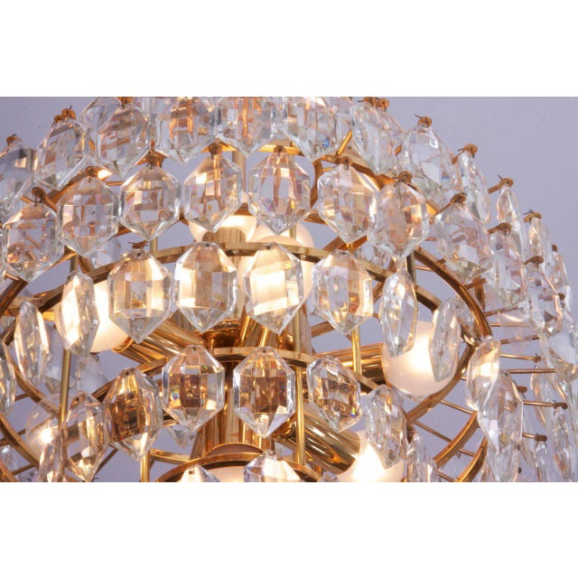 Brass Stunning Pair of Seven-Tier Crystal Glass Bakalowits Chandeliers For Sale - Image 7 of 8