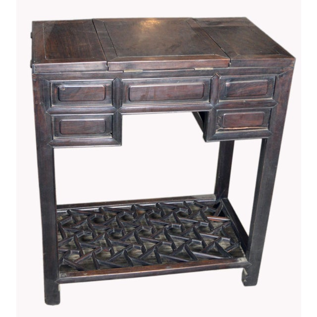 Metal Chinese Vintage Dark Lacquered Wood Dressing Table With Mirror and Drawers For Sale - Image 7 of 8