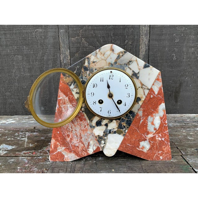 1920s era marble clock with French clockworks. This clock is being sold as a display item only; we do not have the key nor...