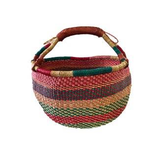 "Large African Bolga Ghana Market Basket 14""-16"" For Sale"