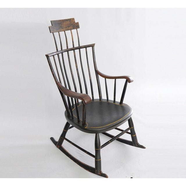 Antique American Black Painted Wood Windsor Rocking Chair For Sale - Image  13 of 13 - Antique American Black Painted Wood Windsor Rocking Chair Chairish
