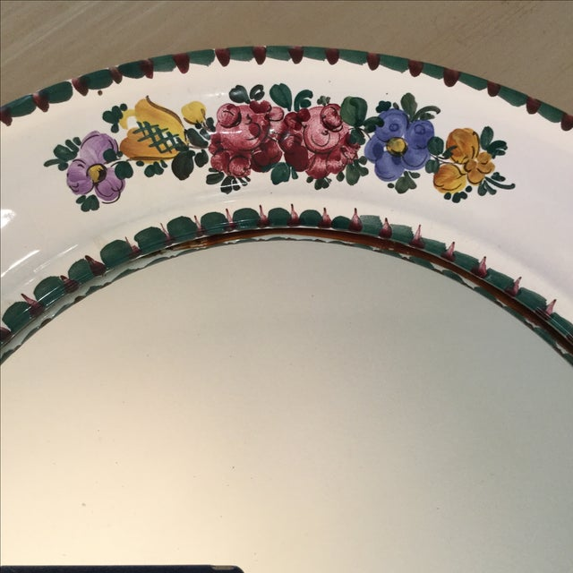 Hand-Painted Ceramic Floral Mirror - Image 3 of 5