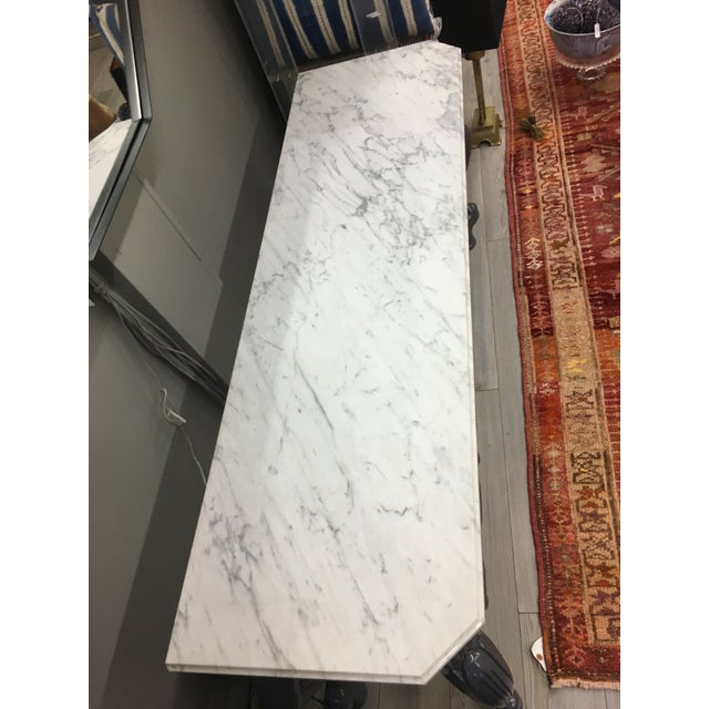 White Vintage Grey Lacquered & Marble Top Console For Sale - Image 8 of 11