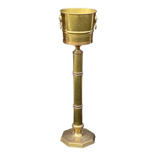 Brass Wine or Champagne Bucket on Stand For Sale