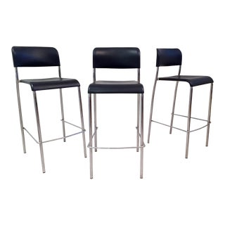 Italian Chrome Bar Stools - Set of 3 For Sale