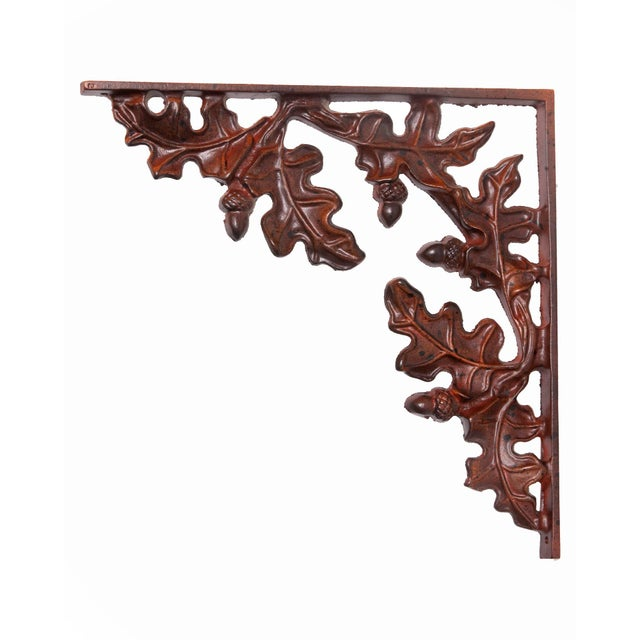 Leafy wall brackets set of four autumn theme heavy iron beautifully formed. Painted finish.
