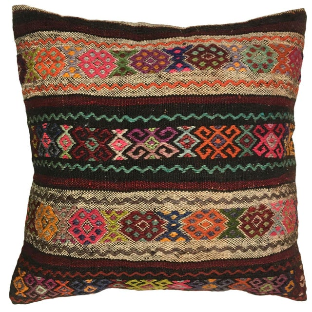 """Boho Chic Rug & Relic Carpet Pillow   24"""" For Sale - Image 3 of 3"""
