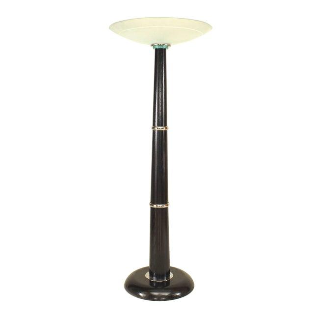 Italian Ebonized Chrome Trimmed Ebonized Floor Lamp For Sale In New York - Image 6 of 6