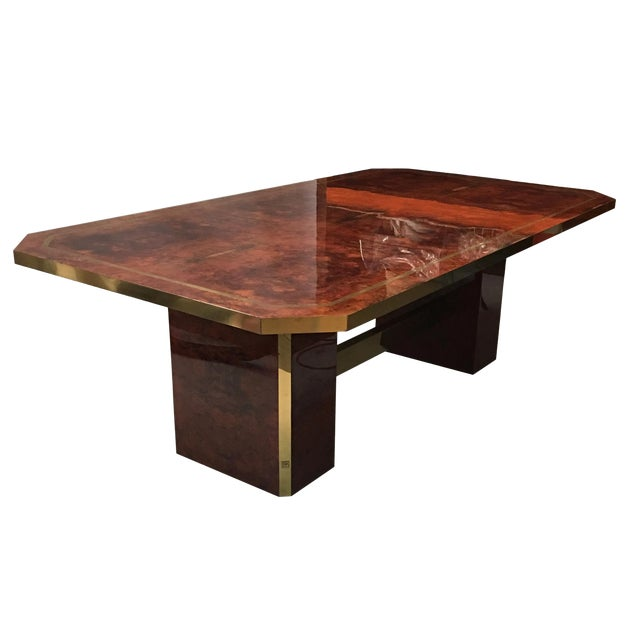 Cedar Burl and Brass Dining Table by Jean Claude Mahey For Sale