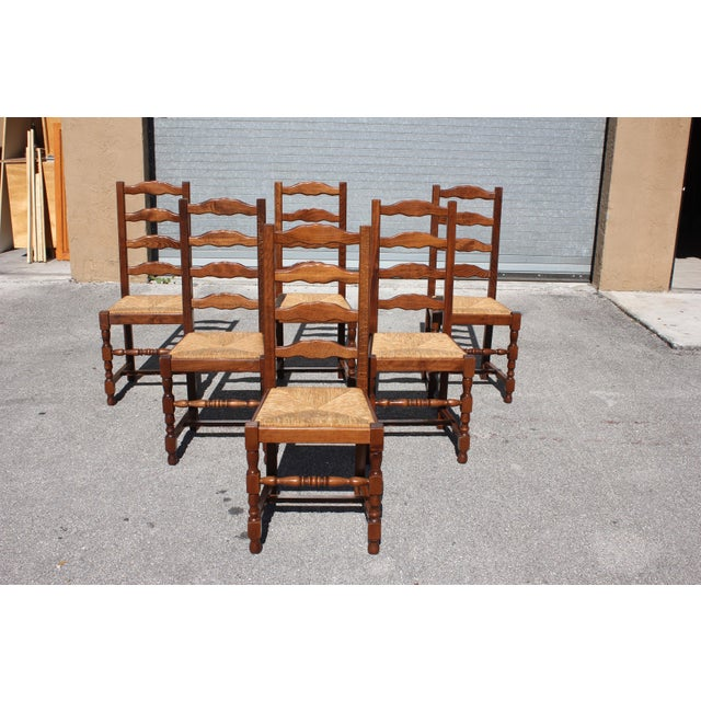 Wood 1910s Vintage French Country Rush Seat Solid Walnut Dining Chairs- Set of 6 For Sale - Image 7 of 13