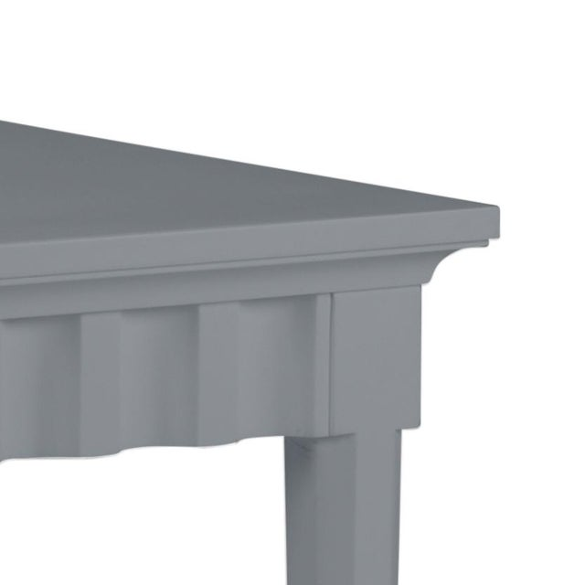 Features a carved scallop pattern design. The color is Benjamin Moore Dior Gray with a semi-gloss finish. Made of acacia...