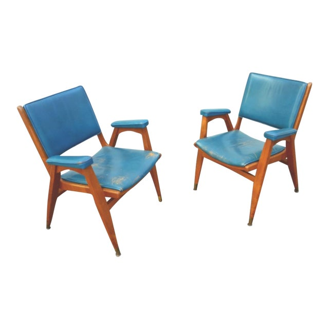 Vintage Gio Ponti Chairs in Teal Leather - Pair For Sale