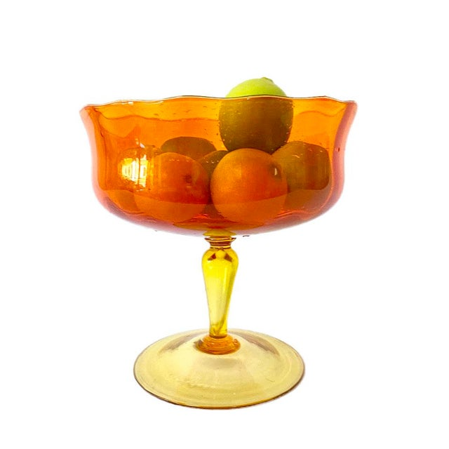 Murano Large Mid-Century Murano Orange & Yellow Compote For Sale - Image 4 of 5