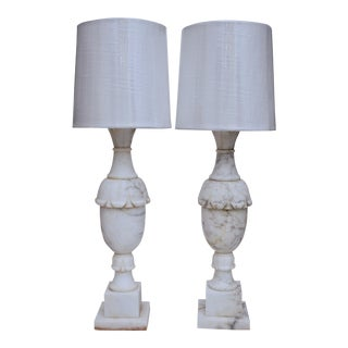 Antique White Marble Lamps - A Pair