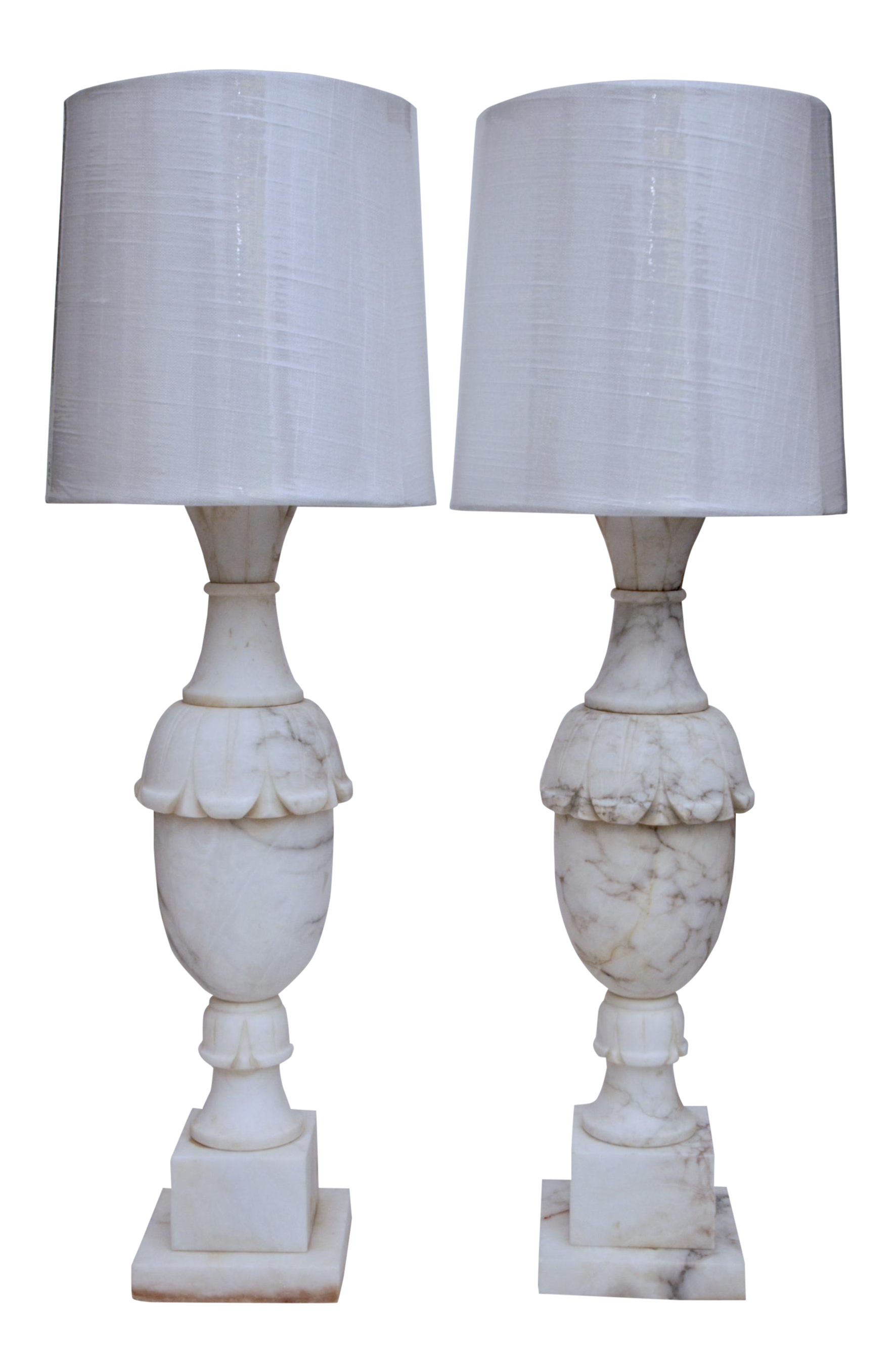 Superior Antique White Marble Lamps   A Pair   Image 1 Of 11