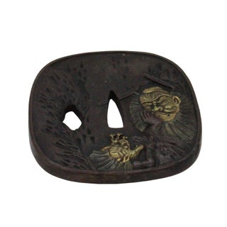 Bronze Quality Handcrafted Japanese Rectangular Shape Tsuba With Warrior and Dragon Preview