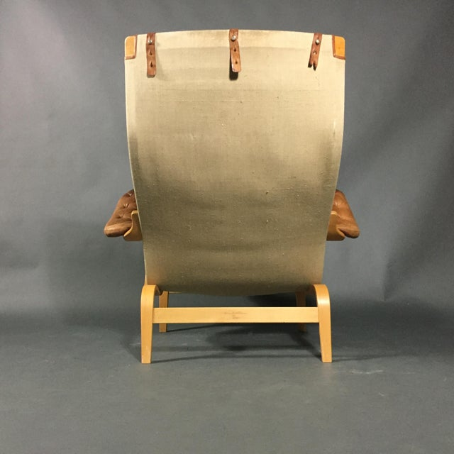 "Animal Skin Bruno Mathsson ""Pernilla"" Lounge Chair + Ottoman, Sweden For Sale - Image 7 of 13"