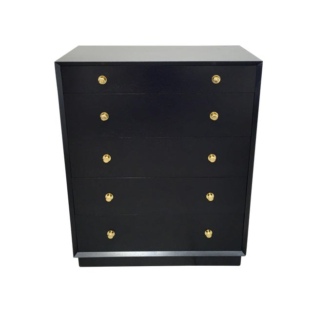 Ebonized Tall Dresser with Solid Brass Hardware For Sale