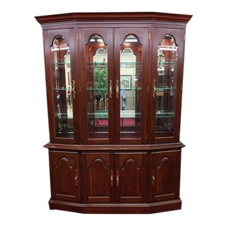 Vintage Colonial Furniture Mirrored Back Lighted China Cabinet For Sale