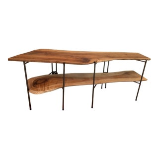 Mid-Century Modern Hand-Made Slab Low Shelf Unit For Sale