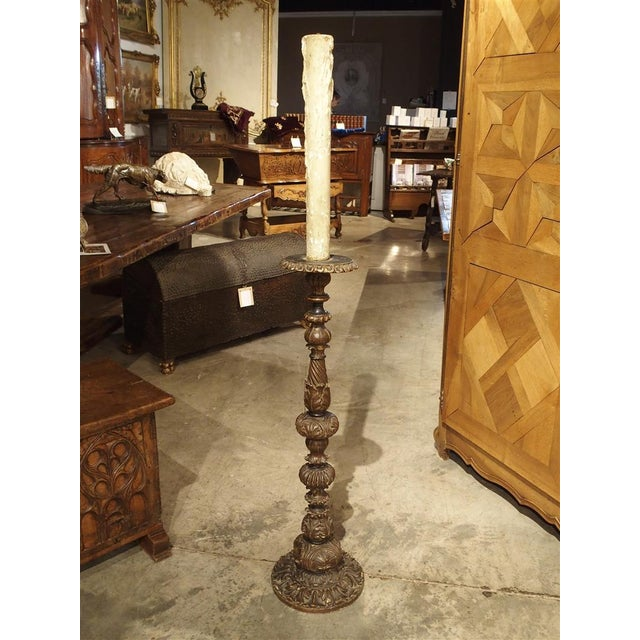Carved Antique French Floor Candlestick Lamp, circa 1880 - Image 2 of 9