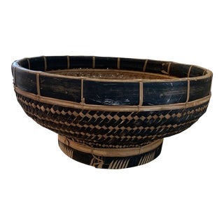 Extra Large Vintage Black and Tan Asian Woven Bowl For Sale