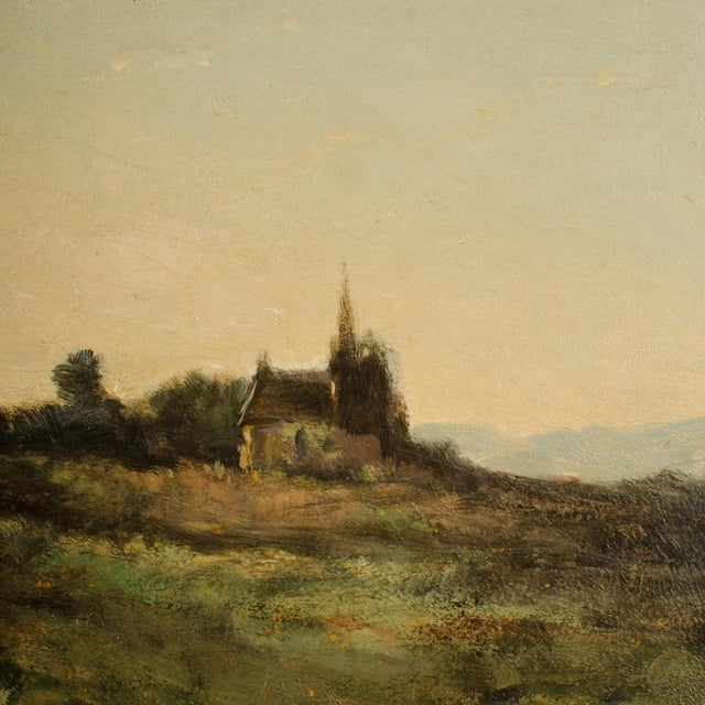 """Canvas Early 20th Century """"Lonely Church"""" Landscape Oil Painting, Framed For Sale - Image 7 of 10"""