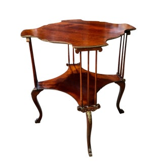 Antique Mahogany Victorian Rococo Turtle Top Two Tier Table With Brass Ormolu For Sale