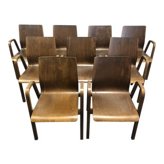 1960s Vintage Scandinavian Modern Bentwood Arm Chairs - Set of 9 For Sale