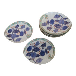 Japanese Kutani Leaf Serving Plates - Set of 8 For Sale