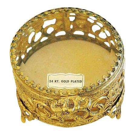 1960s Vintage 24k Gold-Plated Filigree Trinket Box For Sale