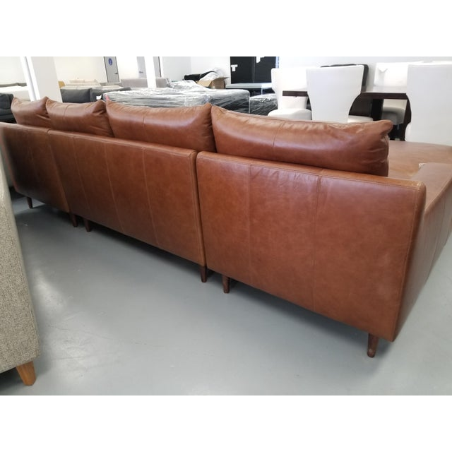 2010s Brown Leather U-Shaped Sectional Sofa For Sale - Image 5 of 8