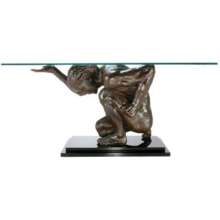 Lifesize Bronze Finish Atlas Sculpture Console Table For Sale