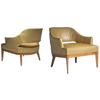 Pair of Swank Harvey Probber Low Lounge Chairs For Sale