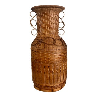 1970s Burnt Rattan Wicker Hand Woven Peacock Style Vase With Curl Designs For Sale