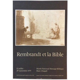 Original Marc Chagall Museum Art Exhibition Poster for Rembrandt and the Bible Event For Sale