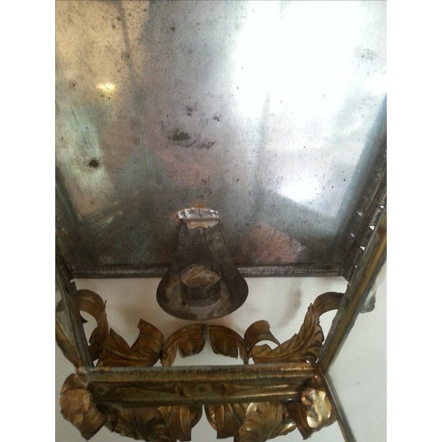 Venetian Style Gilt Tole and Glass Wall Lantern For Sale - Image 9 of 10