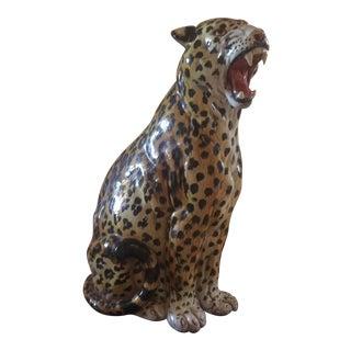 Mid-Century Vintage Italian Ceramic Leopard