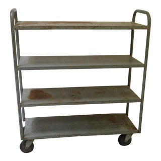 Industrial Machine Age Rolling Cart Metal Shelf Trolley For Sale