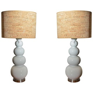 Stacked White Glass Gourd Lamps - A Pair